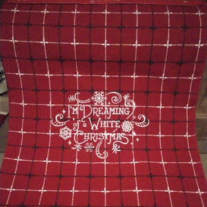 Plaid Table Runner - White Christmas