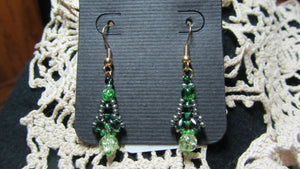 Twin Flanked Drop Earrings