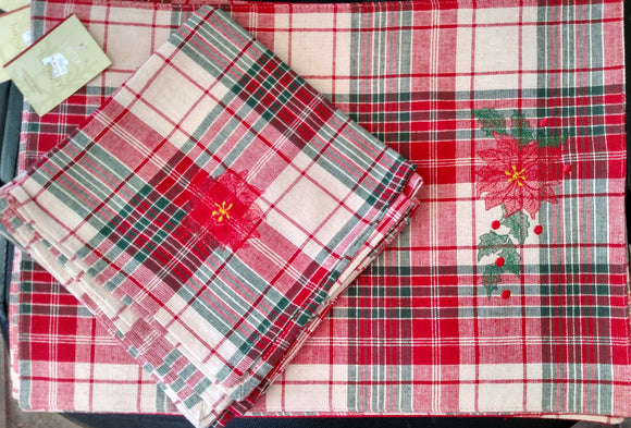 Christmas Poinsettia Place Mats & Napkins Set of 4