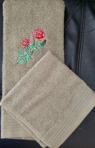 Mylar Rose Hand Towel and Wash Cloth