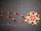 Stained Glass Poinsettia Necklace