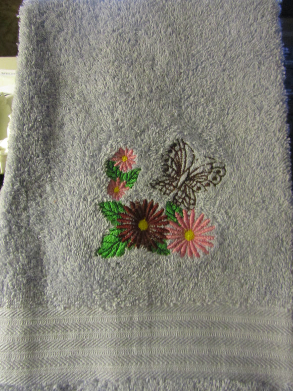 Butterfly and Flowers Hand Towel
