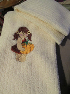 Pumpkin Girl Kitchen Towel and Cloth