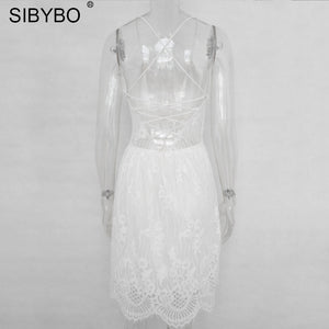 Sibybo Backless Spaghetti Strap Sexy Lace Dress Women Sleeveless V-Neck Loose Summer Dress Cotton Black Elegant Party Dresses - le buisson ardent