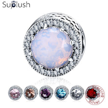 Suplush 100% Real 925 Sterling Silver Round Shape CZ Stone Charm Fit Original Pandora Charm Bracelet Authentic Jewelry PSMB0532 - le buisson ardent