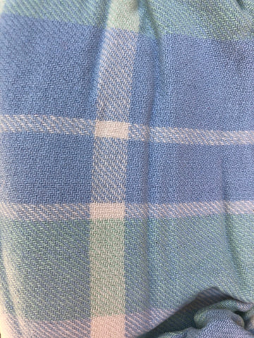 Green, blue and white tartan wool vest