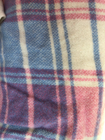 Pink, blue and white tartan wool vest