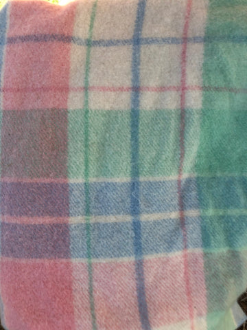 Pink, blue, green and white tartan wool vest