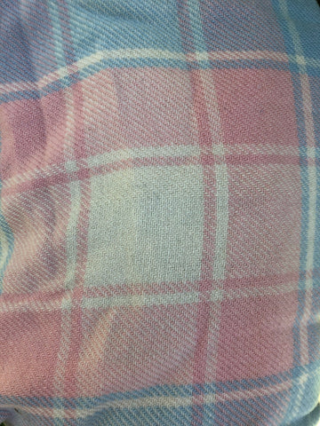 Pink, white and blue tartan wool vest