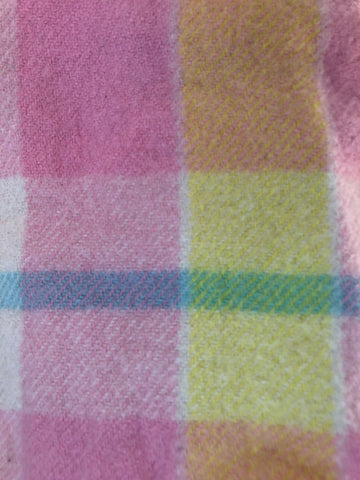 Yellow, pink, blue and green tartan wool vest