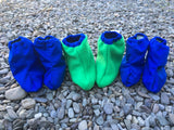 Littlies Royal blue/kermit green shoe covers