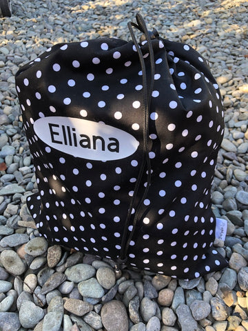 Black and White Spotty Waterproof Wet Bag Backpack