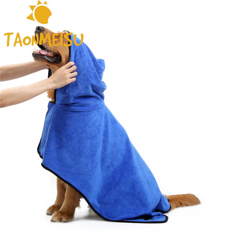 Newest Soft Fiber Dog Towel Super Absorbent Pet Dog Cats Bathrobe Puppy Doggy Kitty Grooming Towl 2 Colors Size S/M/L/XL Supply