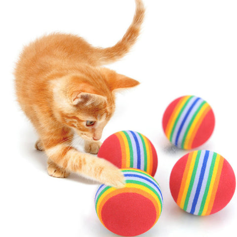 10Pcs Colorful Cat Toy Ball Interactive Cat Toys Play Chewing Rattle Scratch Natural Foam Ball Training Pet Supplies D1
