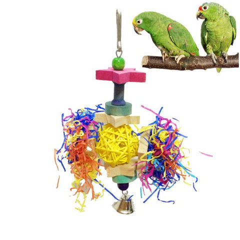 Natural Rattan Bird Toys Pet Parrot Chewing Toys Five-pointed Star Rattan Ball Toy Random Color Bird Cage Decoration Supplies