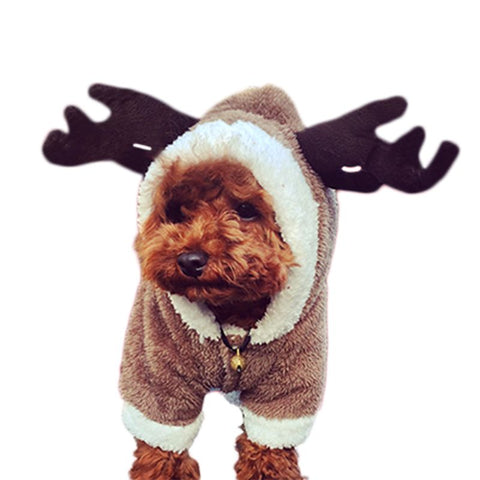 Christmas small dog clothes coat pet clothes winter warm flannel material clothes four legs deer elk and dinosaur costume
