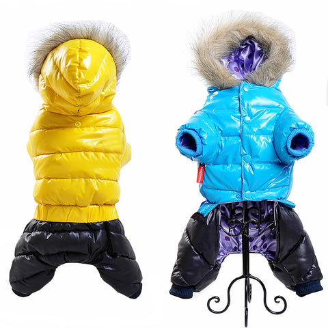 Winter Pet Dog Clothes For Small Dogs Waterproof Puppy Pet Down Coat Thicken Warm Fur Hooded Chihuahua Yorkshire Jacket Clothing