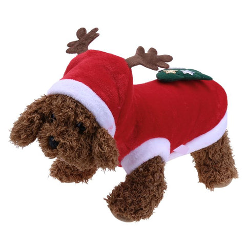 Christmas Lovely Fleece Dog Clothes Red Dog Warm Coat Pet  Elk Hooded Coat Autumn/Winter Clothes for Dog Pet Supplies S-XL