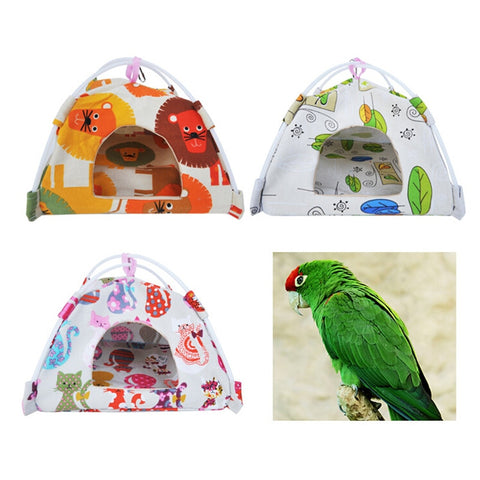 S M L Size Cartoon Bird Parrot Tent House Canvas Fabric Bird House Bed Cave Cage Hammock Mini Animal Parrot Pet Supplies 1pc
