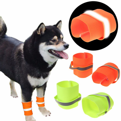 1 Pair Wrist Band Pet Dogs Reflective Strap Dog Puppy Safety Leg Wrap Glow In The Dark Elastic Outdoor Pet Supplies C42