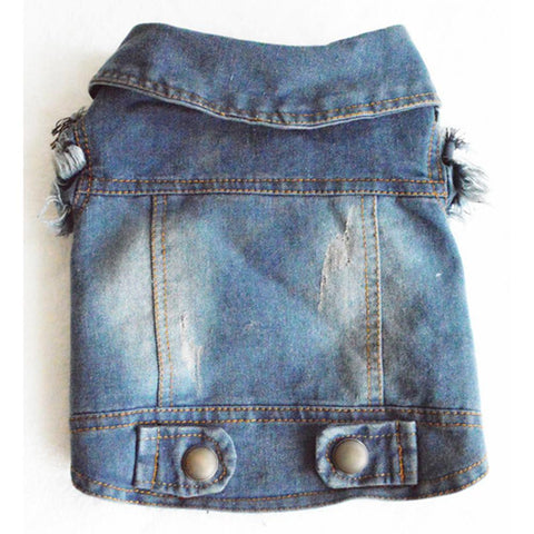 Dog Puppy Blue Cowboy Jean Denim Vest Coat Jacket Clothes Outfits Pet Supplies