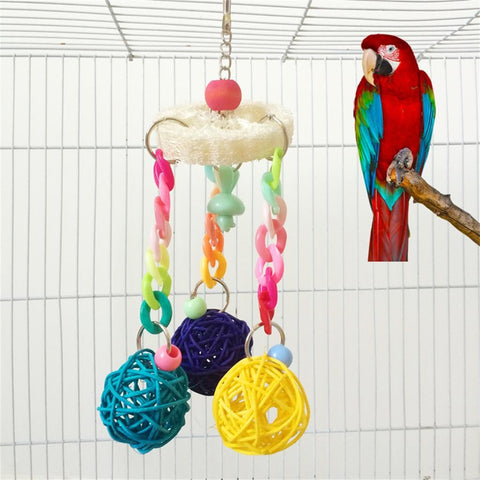Parrot / Bird Toy - Small Colored Wood / Rope / Loofah Vine / Swing With Ball