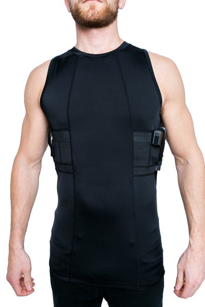 Graystone Gun Holster Tank Top Shirt Men - Easy Reach Gun Concealment Sleeveless Top Tank CCW Shirt