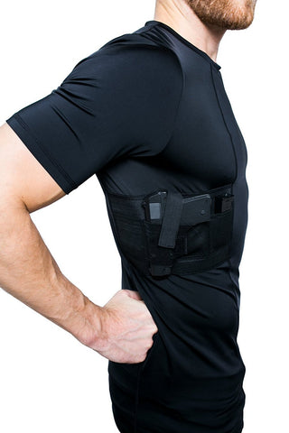 GrayStone Holster Shirt Concealed Men's Crew Neck - Easy Reach Gun Concealment Compression CCW