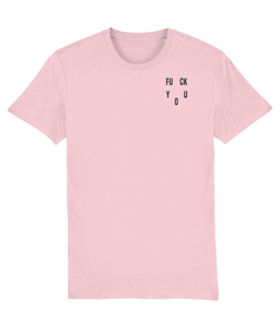 OMGRL Products Cotton Pink / XX-Small / Left chest FUCK YOU EMBROIDERED T-SHIRT Slogan Tee