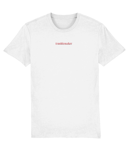OMGRL Products TROUBLEMAKER EMBROIDERED T-SHIRT Slogan Tee