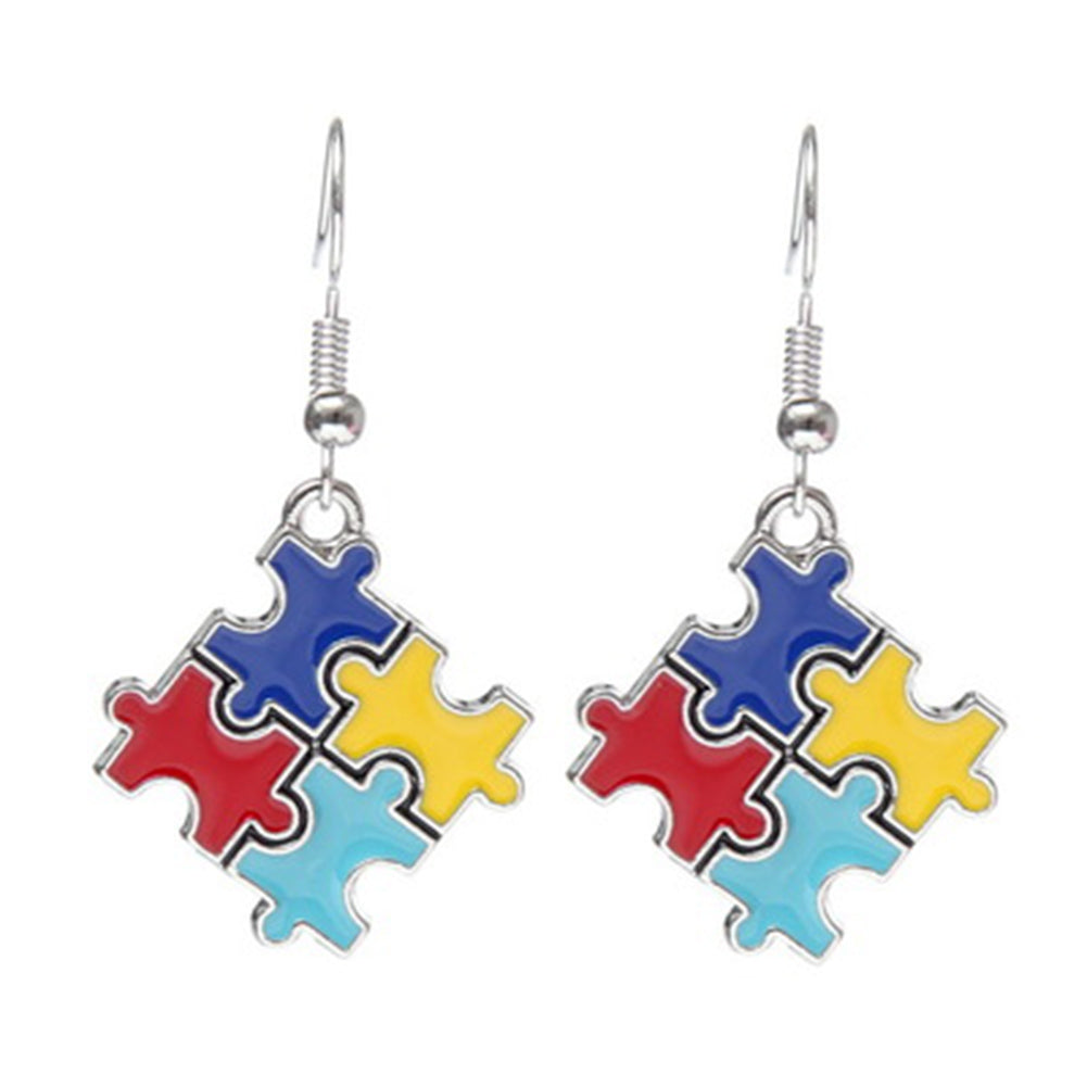 Autism Hope Puzzle Piece charm Earrings