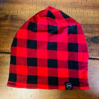 Load image into Gallery viewer, Red and Black Buffalo Check Peek-a-Boo Beanie