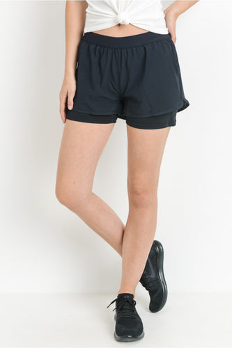 Black Perforated Active Short Shorts