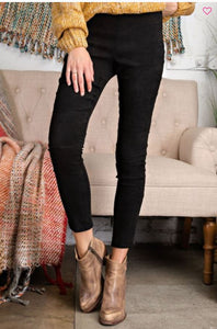 SOFT SUEDE KNIT MOTO LEGGINGS