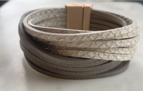 Ivory & Bronze Leather Magnetic