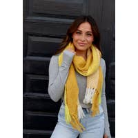 Yellow Soft long plaid scarf with fringe.