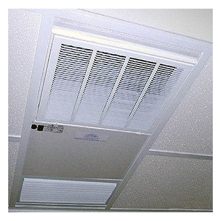 The PR10.0V Commercial Smoke Eater Sits Flush Mount in the Ceiling Grid