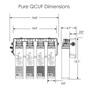 PURE QCUF Quick Connect 4-Stage Ultrafiltration Drinking Water Filter System Product Dimensions