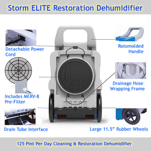 Storm ELITE 125 PPD high capacity dehumidifier includes several useful features
