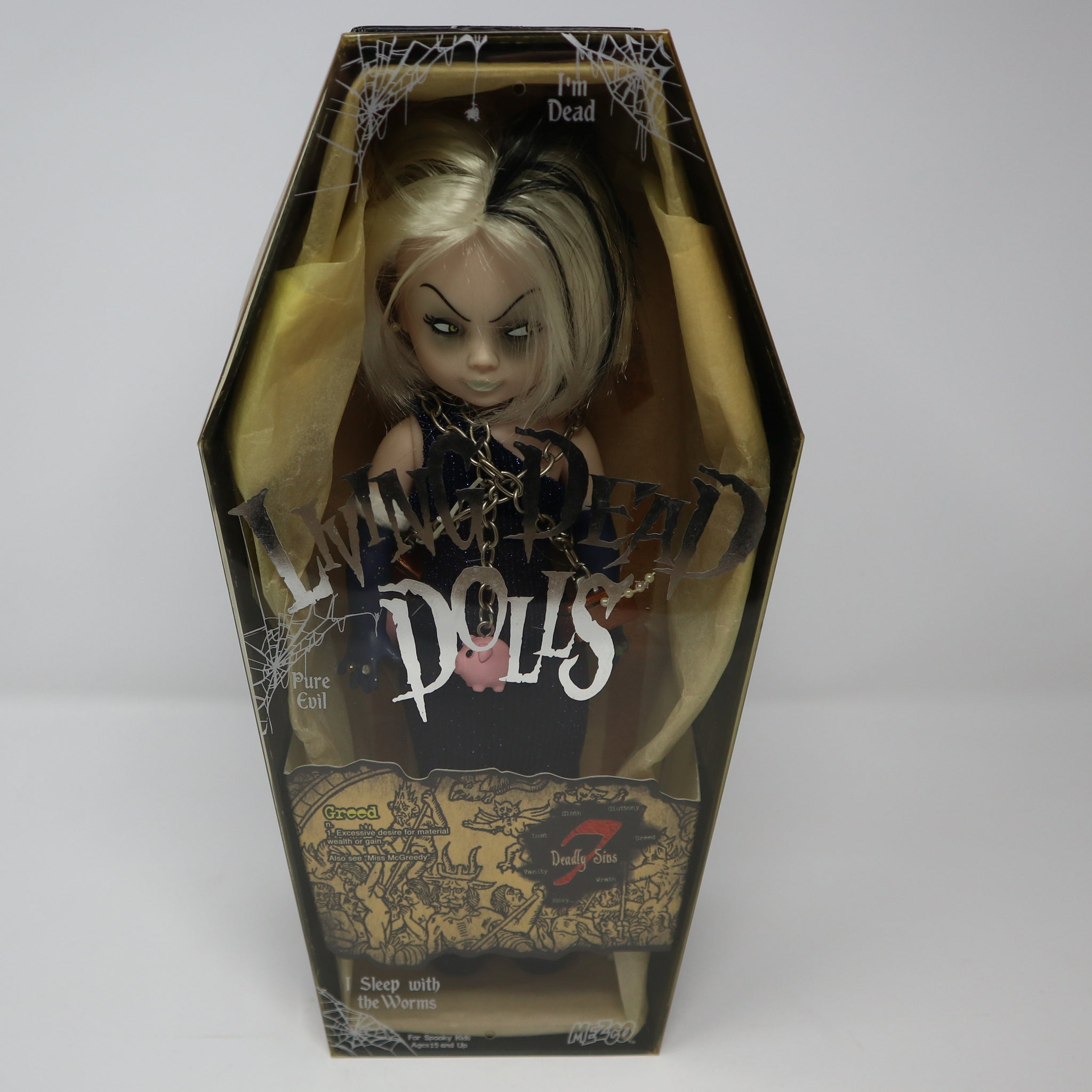 "2004 Mezco Toyz Living Dead Dolls Series 7 Seven Deadly Sins Greed (Miss McGreedy) 10"" Doll Complete Boxed Rare"