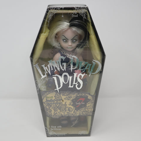 "2004 Mezco Toyz Living Dead Dolls Series 7 Seven Deadly Sins Greed (Miss McGreedy) 10"" Doll Complete Boxed Sealed Rare"