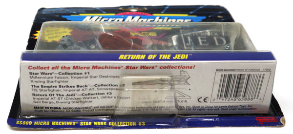 Vintage 1993 90s Galoob Toys Micro Machines Star Wars Collection #3 Return Of The Jedi Space Vehicles Carded MOC (AT-ST (Chicken Walker), Jabba's Desert Sail Barge, B-Wing Starfighter)