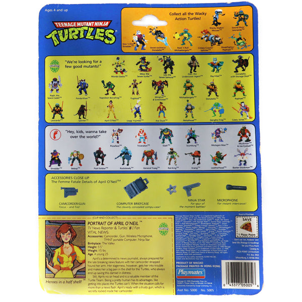 Vintage 1990 90s Playmates Toys Teenage Mutant Ninja Turtles (TMNT) April O'Neil Action Figure Carded MOC