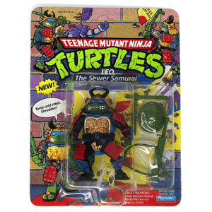 Vintage 1990 90s Playmates Toys Teenage Mutant Ninja Turtles (TMNT) Leo The Sewer Samurai Action Figure Carded MOC