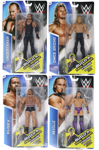 "2015 Mattel WWE Wrestling Wrestlemania 22 7.5"" Action Figures Complete Lot Mint MOC Carded Sealed New (Rusev, Chris Jericho, Undertaker, Neville, Build Paul Bearer)"
