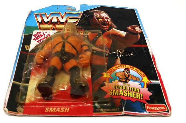 Vintage 1994 90s Hasbro Funskool WWF Wrestling Series 1 Demolition Smash With Demolition Smasher! Action Figure MOC Carded Rare