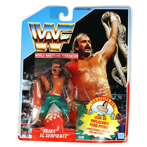 "Vintage 1990 90s Hasbro WWF Wrestling Series 1 Jake ""The Snake"" Roberts Action Figure Carded MOC Rare Spanish"