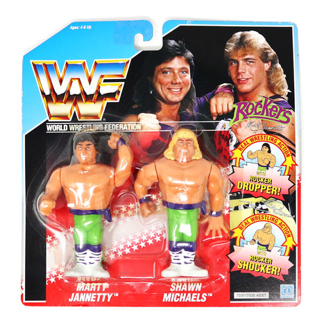 Vintage 1990 90s Hasbro WWF Wrestling Series 2 Tag Teams Rockers Marty Jannetty & Shawn Michaels Action Figures Carded MOC