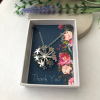 flower necklace with gift card
