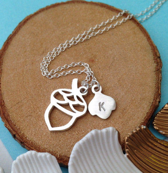 Acorn Necklace With Initial Charm
